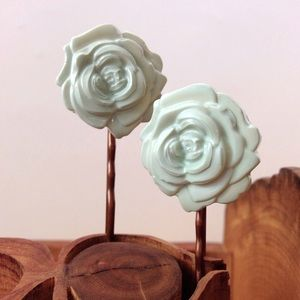 Pale Mint Rose Bobbies Hand Molded & Painted